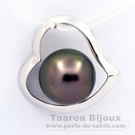 18K Solid White Gold Pendant and 1 Tahitian Pearl Round B 8.1 mm
