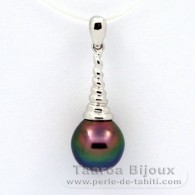 Rhodiated Sterling Silver Pendant and 1 Tahitian Pearl Semi-Baroque B+ 9.5 mm