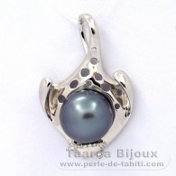 Rhodiated Sterling Silver Pendant and 1 Tahitian Pearl Semi-Baroque C 13.2 mm