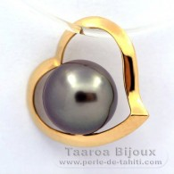 18K solid Gold Pendant and 1 Tahitian Pearl Round B 8.1 mm