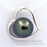 18K Solid White Gold Pendant and 1 Tahitian Pearl Round B 8.2 mm