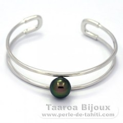 Rhodiated Sterling Silver Bracelet and 1 Tahitian Pearl Round C+ 10.5 mm