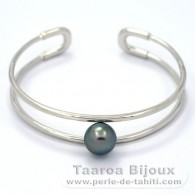 Rhodiated Sterling Silver Bracelet and 1 Tahitian Pearl Round C 9.9 mm