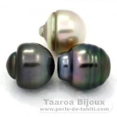 Lot of 3 Tahitian Pearls Ringed C from 11.9 to 12 mm