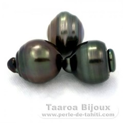 Lot of 3 Tahitian Pearls Ringed D from 13.6 to 13.9 mm