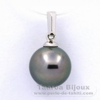 18K Solid White Gold Pendant and 1 Tahitian Pearl Round B 9.4 mm