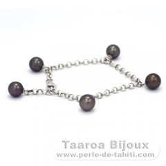 Rhodiated Sterling Silver Bracelet and 5 Tahitian Pearls Round C  7.8 to 8.4 mm