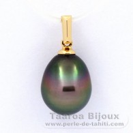 18K solid Gold Pendant and 1 Tahitian Pearl Semi-Baroque B 9.7 mm