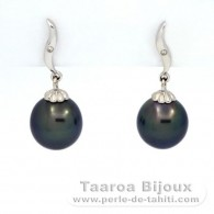 18K Solid White Gold Earrings + 2 diamonds of 0.01 carats HS1 and 2 Tahitian Pearls Semi-Baroque B+ 9.3 mm