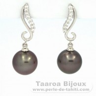 Rhodiated Sterling Silver Earrings and 2 Tahitian Pearls Round C 9.6 and 9.7 mm