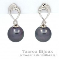 Rhodiated Sterling Silver Earrings and 2 Tahitian Pearls Round C 9.2 and 9.3 mm