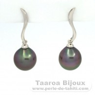 Rhodiated Sterling Silver Earrings and 2 Tahitian Pearls Semi-Baroque B 9.3 mm