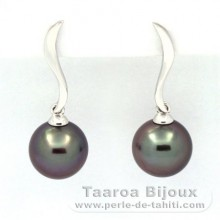 18K Solid White Gold Earrings and 2 Tahitian Pearls Round B 8.7 and 8.8 mm
