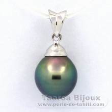 .925 Solid Silver Pendant and 1 Tahitian Pearl Semi-Baroque B+ 9.7 mm