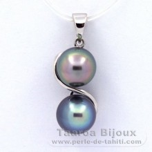 Rhodiated Sterling Silver Pendant and 2 Tahitian Pearls Semi-Baroque C 8 and 8.2 mm