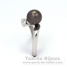 .925 Solid Silver + Rhodium Ring and 1 Tahitian Pearl Round A 7.6 mm