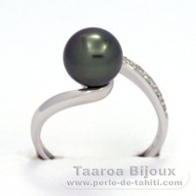 Rhodiated Sterling Silver + Rhodium Ring and 1 Tahitian Pearl Round B 8.4 mm