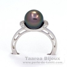 Rhodiated Sterling Silver + Rhodium Ring and 1 Tahitian Pearl Round B 8.5 mm