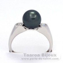 Rhodiated Sterling Silver Ring and 1 Tahitian Pearl Round C 9.1 mm