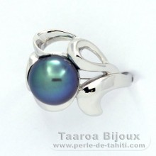 Rhodiated Sterling Silver + Rhodium Ring and 1 Tahitian Pearl Round C+ 9.3 mm