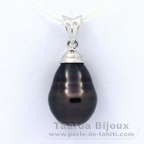 Rhodiated Sterling Silver Pendant and 1 Tahitian Pearl Ringed C 10.4 mm