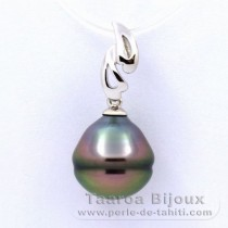 Rhodiated Sterling Silver Pendant and 1 Tahitian Pearl Ringed B 11.4 mm