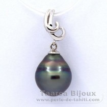Rhodiated Sterling Silver Pendant and 1 Tahitian Pearl Ringed B 10.7 mm