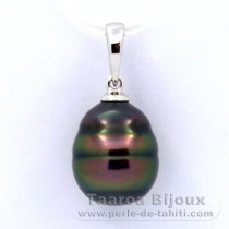Rhodiated Sterling Silver Pendant and 1 Tahitian Pearl Ringed B 10.5 mm
