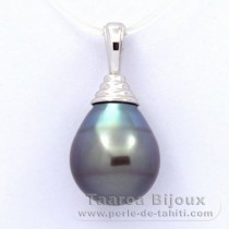 .925 Solid Silver Pendant and 1 Tahitian Pearl Ringed B 11.6 mm