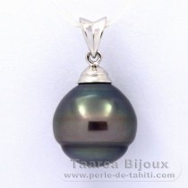 .925 Solid Silver Pendant and 1 Tahitian Pearl Ringed B 13.1 mm