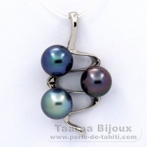 Rhodiated Sterling Silver Pendant and 3 Tahitian Pearls Near-Round C+  8.9 to 9 mm