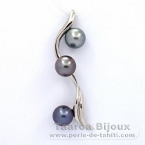 Rhodiated Sterling Silver Pendant and 3 Tahitian Pearls Round C 9 mm
