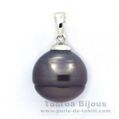 .925 Solid Silver Pendant and 1 Tahitian Pearl Ringed C 12.5 mm