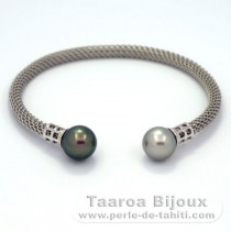 Rhodiated Sterling Silver Bracelet and 2 Tahitian Pearls Round C 9.6 and 9.8 mm