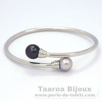 .925 Solid Silver Bracelet and 2 Tahitian Pearls Near-Round C 9.5 and 9.7 mm