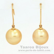 18K solid Gold Earrings and 2 Australian Pearls Semi Round B & C 11.2 mm