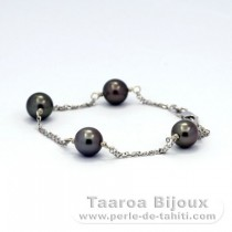 Rhodiated Sterling Silver Bracelet and 4 Tahitian Pearls Round B  8 to 8.2 mm
