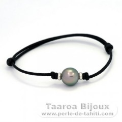Waxed Cotton Bracelet and 1 Tahitian Pearl Near-Round B 10.4 mm