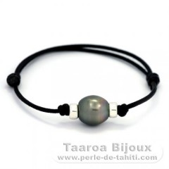 Waxed Cotton Bracelet and 1 Tahitian Pearl Semi-Baroque B 11.3 mm