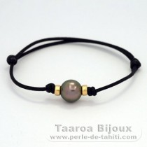 Waxed Cotton Bracelet and 1 Tahitian Pearl Near-Round C 10.6 mm