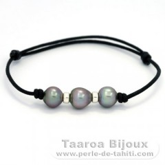Waxed Cotton Bracelet and 3 Tahitian Pearls Semi-Baroque B  9.1 to 9.2 mm