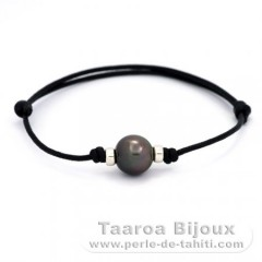 Waxed Cotton Bracelet and 1 Tahitian Pearl Near-Round C 11.2 mm
