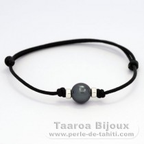 Waxed Cotton Bracelet and 1 Tahitian Pearl Semi-Baroque C 9.9 mm