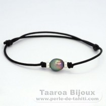 Waxed Cotton Bracelet and 1 Tahitian Pearl Semi-Baroque B 9.3 mm