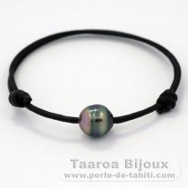 Waxed Cotton Bracelet and 1 Tahitian Pearl Ringed C+ 10 mm