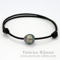 Waxed Cotton Bracelet and 1 Tahitian Pearl Ringed B 9.8 mm