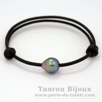 Leather Bracelet and 1 Tahitian Pearl Semi-Baroque B+ 10 mm