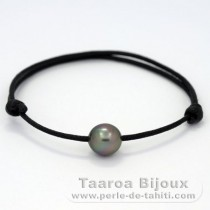 Waxed Cotton Bracelet and 1 Tahitian Pearl Semi-Baroque B 9.5 mm