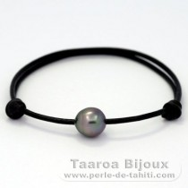 Leather Bracelet and 1 Tahitian Pearl Semi-Baroque B 8.9 mm