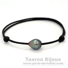 Waxed Cotton Bracelet and 1 Tahitian Pearl Semi-Baroque B 9.8 mm